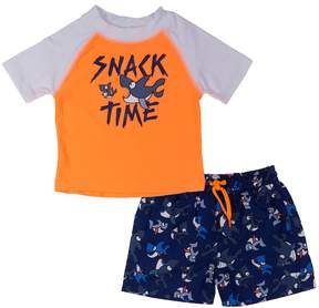 Trunks Toddler Boy Kiko & Max Snack Time Shark Rash Guard & Swim Set