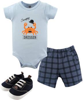 Hudson Baby Blue 'Snappy Dresser' Crab Bodysuit Set - Newborn & Infant