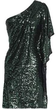 Badgley Mischka One-Shoulder Sequined Mesh Mini Dress