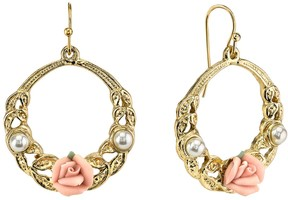 1928 Porcelain Rose Hoop Drop Earrings