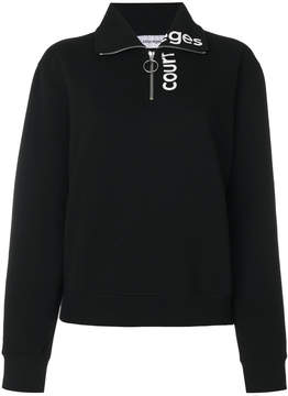 Courreges zipped neck logo sweatshirt