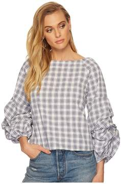 J.o.a. Tiered Sleeve Wide Neck Top Women's Clothing