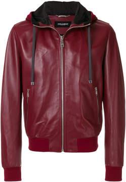 Dolce & Gabbana leather hooded jacket