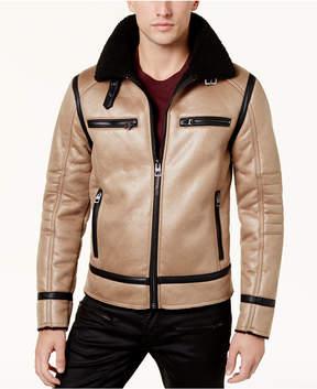 GUESS Men's Sierra Faux-Leather Fleece-Lined Coat