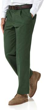 Charles Tyrwhitt Green Classic Fit Single Pleat Washed Cotton Chino Pants Size W32 L32