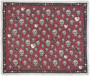 Alexander McQueen Black and Pink Dagger Hearts Skull Scarf
