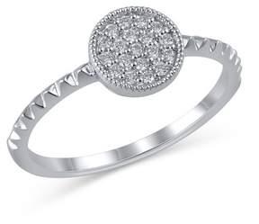 Bony Levy 18K White Gold Pave Diamond Detail Circle Textured Ring