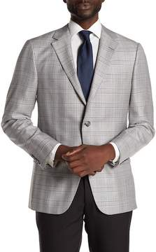 Hickey Freeman Gray Plaid Two Button Notch Lapel Sport Coat