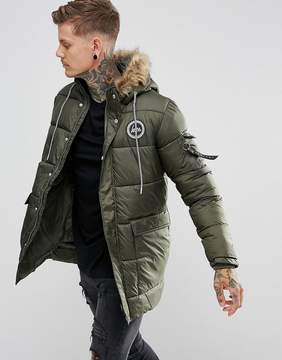 Hype Padded Parka In Khaki With Faux Fur Hood