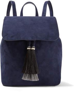 Loeffler Randall - Horse Hair-trimmed Suede Backpack - Midnight blue