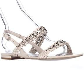 Reiss Chiara Woven Chain Flat Sandals, Oatmeal.