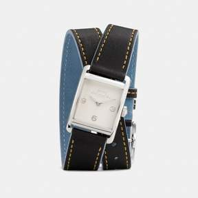 COACH COACH RENWICK DOUBLE WRAP WATCH, 25MM X 35MM - BLACK