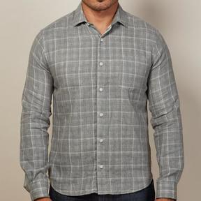 Blade + Blue Grey Windowpane & Gingham Double-Cloth Shirt - Georgie