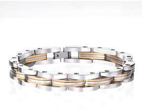 Armani Exchange Jewelry Mens Stainless Steel High Polished Link Bracelet