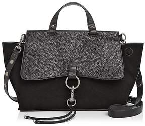 Rebecca Minkoff Keith Medium Leather and Suede Satchel - BLACK/SILVER - STYLE