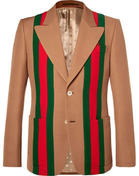 Gucci Camel Striped Wool And Silk-Blend Crepe Suit Jacket