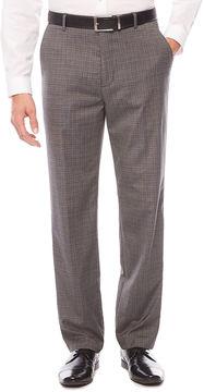 Jf J.Ferrar Men's JF Stretch Gray Check Flat-Front Straight-Leg Classic Pant
