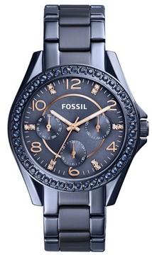 Fossil Women's Riley Crystal Bezel Multifunction Bracelet Watch, 38Mm