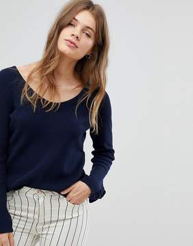 Esprit Lightweight Knitted Sweater With Frill Cuff