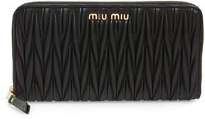 Miu Miu Matelasse Lambskin Leather Zip Around Wallet