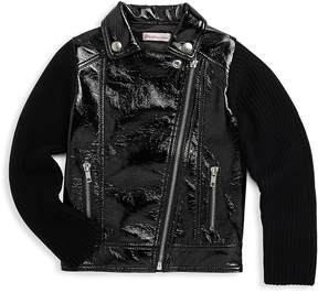 Design History Little Girl's Collared Faux Leather Jacket - Black, Size 6-6x