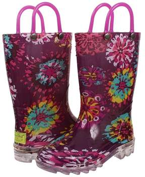 Western Chief Abstract Blooms Lighted Girls Shoes