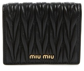 Miu Miu Women's Matelasse Leather Wallet - Black