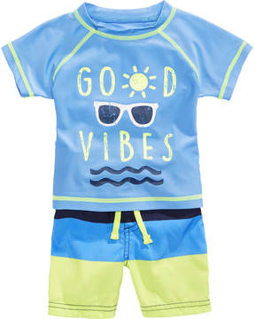 First Impressions 2-Pc. Good Vibes Rash Guard & Swim Trunks Set, Baby Boys, Created for Macy's