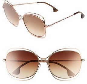 Alice + Olivia Women's Collins 60Mm Butterfly Sunglasses - Rose Gold