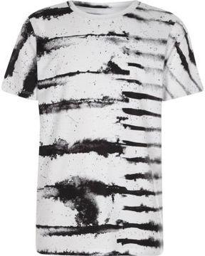River Island Boys white monochrome ink stripe T-shirt