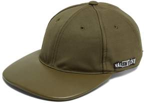 Valentino Logo-embroidered wool and leather cap