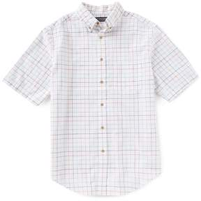 Roundtree & Yorke Short-Sleeve Windowpane Linen Blend Sportshirt