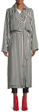RtA Karina Striped Silk Trench Coat