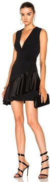 David Koma V-Neck Overlap Asymmetric Ruffle Hem Dress in Black.
