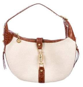Eric Javits Leather-Trimmed Straw Handle Bag