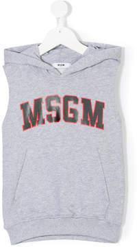 MSGM sleeveless logo hoodie