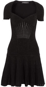 Alexander McQueen Metallic Ribbed Stretch Wool-blend Mini Dress - Black