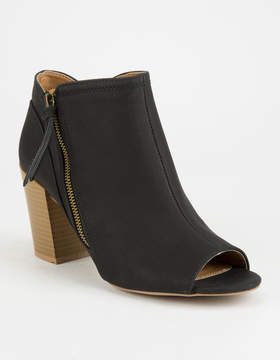 Qupid Peep Toe Black Womens Booties