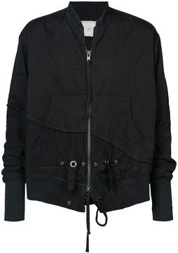 Greg Lauren asymmetric popper detail bomber jacket