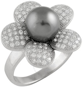 Bella Pearl Rhodium-Plated Sterling Silver Floral Tahitian Pearl Ring - Size 6