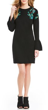 Chelsea & Theodore Embroidered Flounce Bell Sleeve Dress