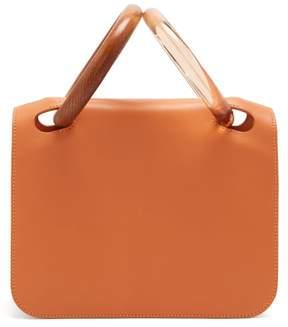 Roksanda Neneh Wooden Handle Leather Clutch - Womens - Brown Multi