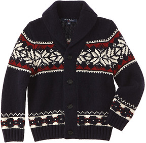 Brooks Brothers Boys' Navy Snowflake Wool-Blend Sweater