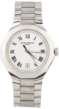 Baume & Mercier Riviera 65580 Stainless Steel Quartz Watch With Date Feature Mens Watch