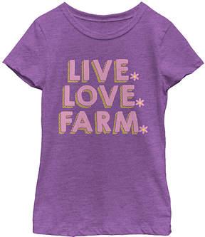 Fifth Sun Purple Berry 'Live. Love. Farm.' Tee - Girls
