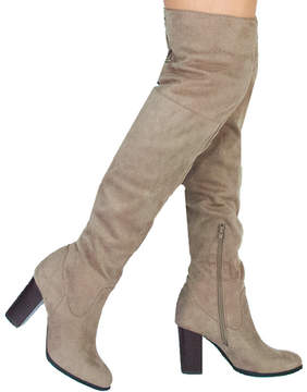 Qupid Taupe Zinc Over-the-Knee Boot - Women