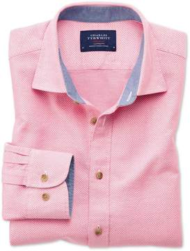 Charles Tyrwhitt Classic Fit Washed Textured Pink Cotton Casual Shirt Single Cuff Size Large