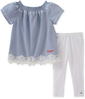 Tommy Hilfiger 2-Pc. Lace-Trim Tunic & Leggings Set, Baby Girls