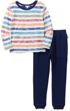 Splendid Reverse Stripe Print Tee & Sweatpant 2-Piece Set (Toddler Boys)