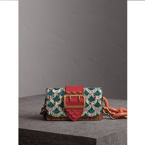 Burberry The Small Buckle Bag in Scallop Trim Snakeskin and Ostrich - NATURAL - STYLE